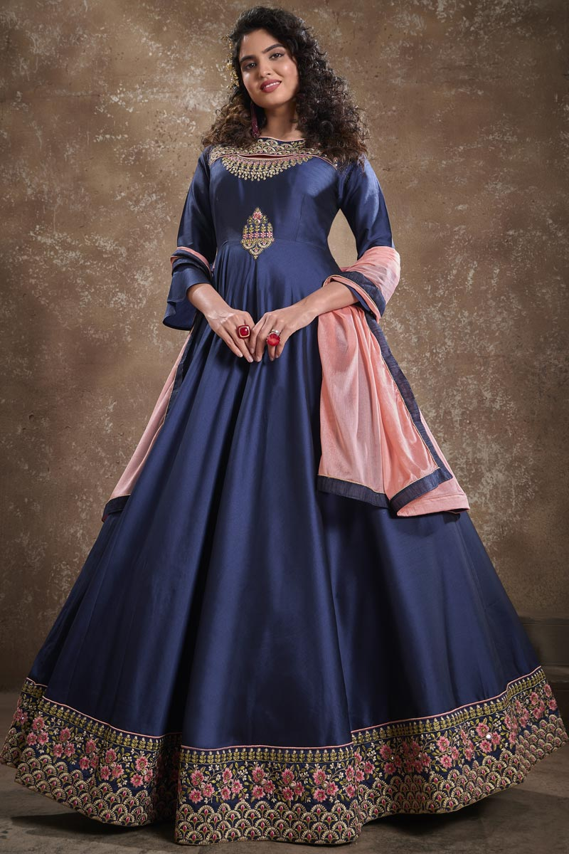 Art Silk Fabric Party Style Designer Embroidered Readymade Gown In Navy Blue Color