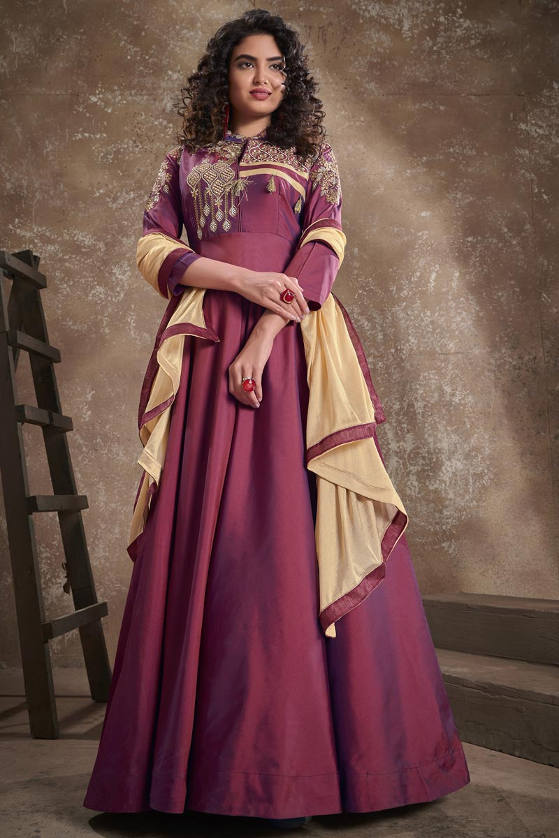 Party Style Embroidered Burgundy Color Art Silk Fabric Designer Readymade Gown