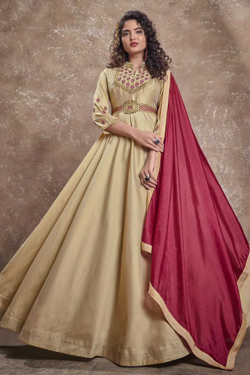 Beige Color Art Silk Fabric Fancy Embroidered Function Wear Readymade Gown