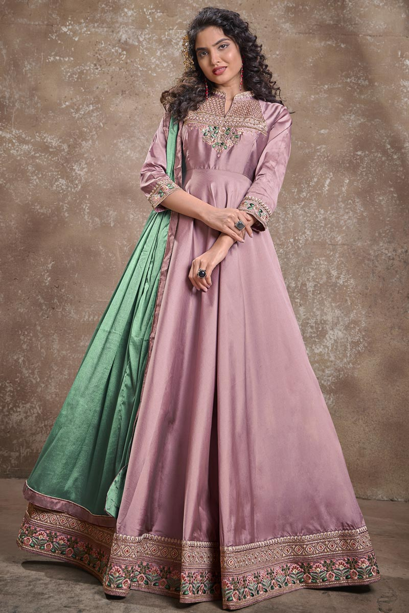 Designer Party Style Art Silk Fabric Pink Color Embroidered Readymade Gown
