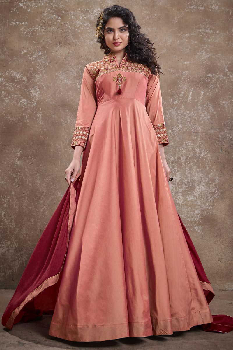 Party Style Peach Color Designer Embroidered Readymade Gown In Art Silk Fabric