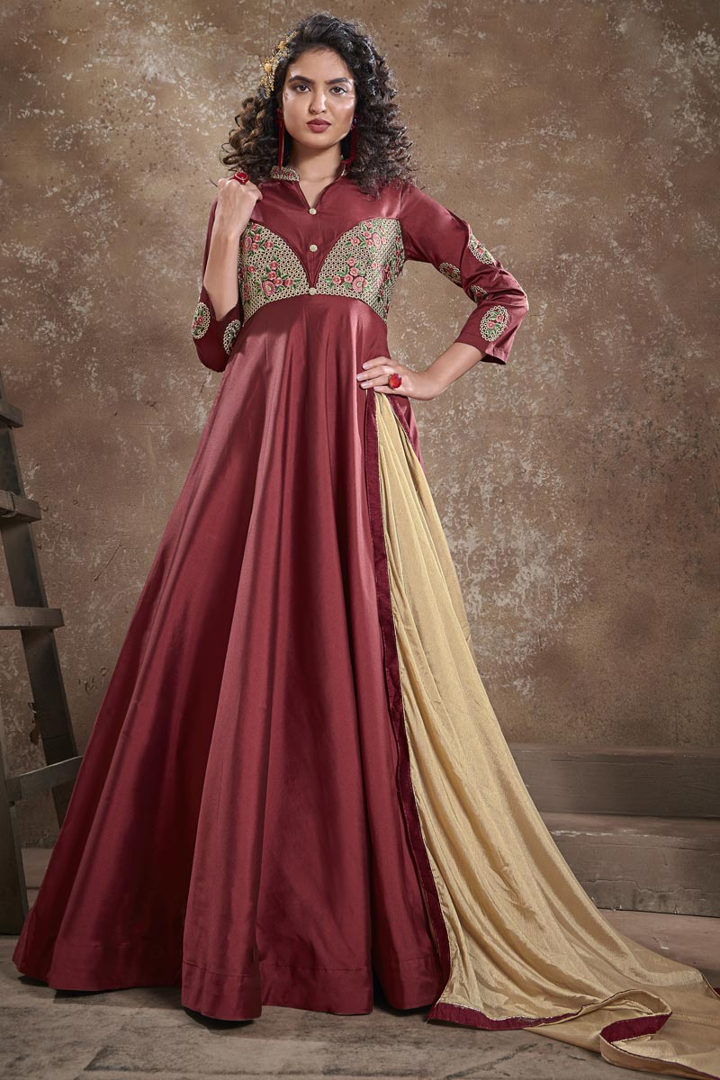 Designer Maroon Color Party Style Embroidered Art Silk Fabric Readymade Gown