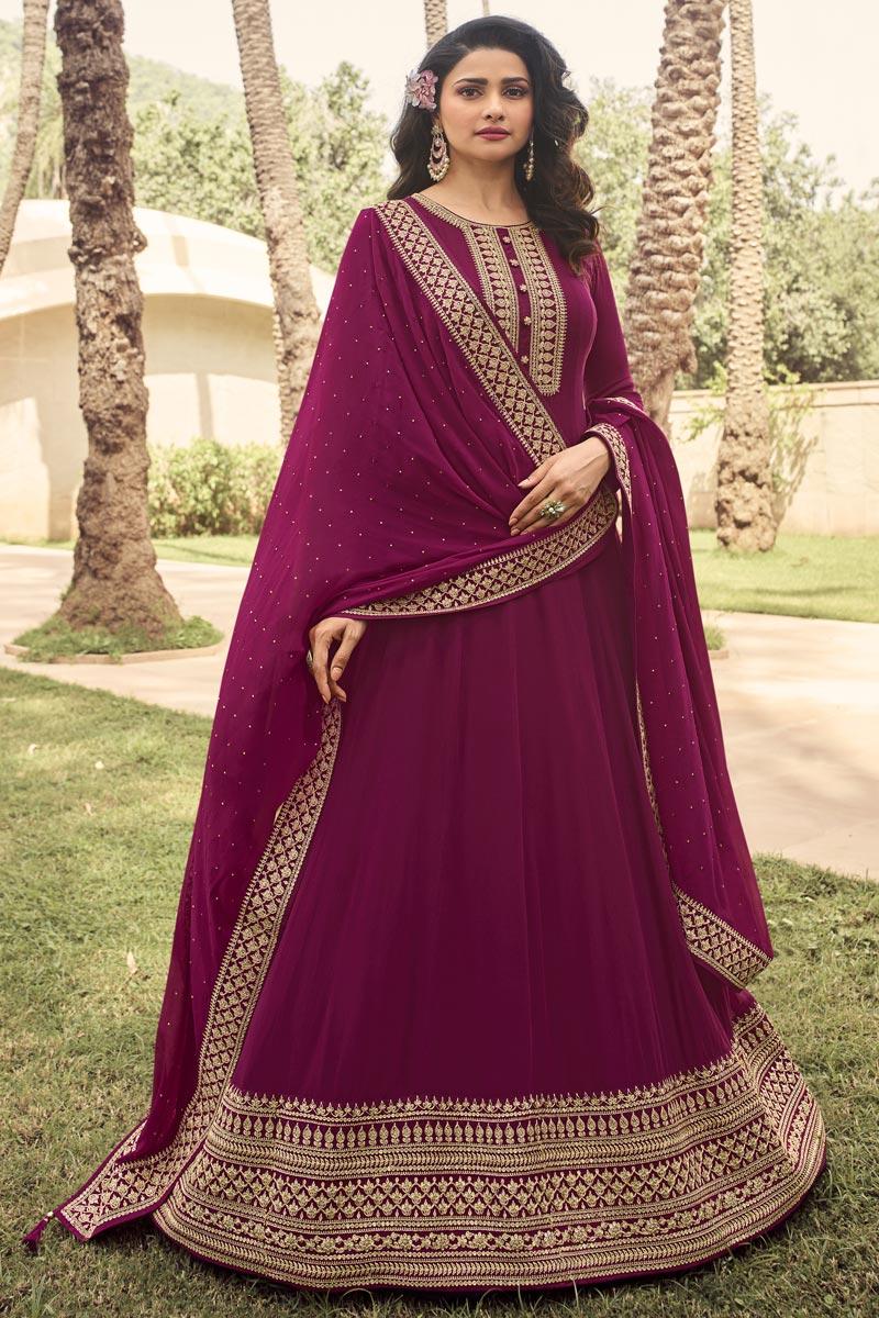 Prachi Desai Burgundy Color Party Style Embroidered Georgette Fabric Anarkali Salwar Kameez