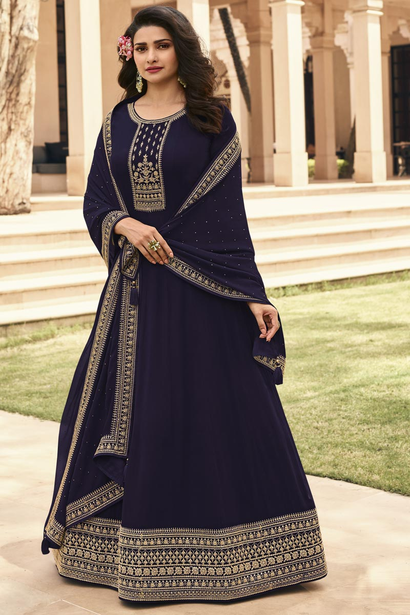 Prachi Desai Party Style Georgette Fabric Navy Blue Color Embroidered Anarkali Salwar Suit