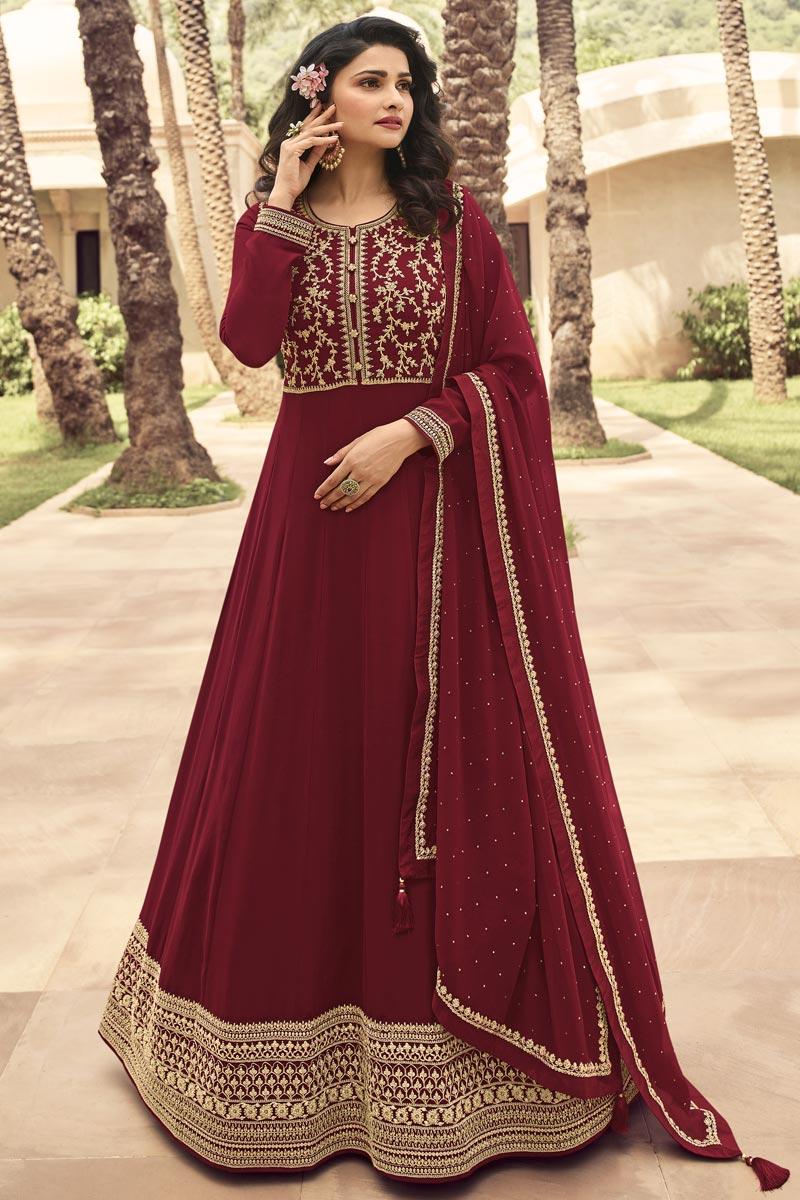 Prachi Desai Maroon Color Georgette Fabric Fancy Embroidered Function Wear Anarkali Salwar Kameez