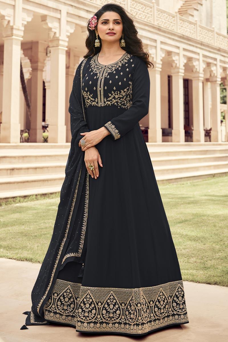 Prachi Desai Georgette Fabric Embroidered Festive Wear Anarkali Salwar Kameez In Black Color
