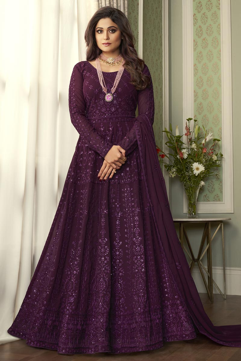 Shamita Shetty Party Style Georgette Embroidered Anarkali Dress In Purple Color