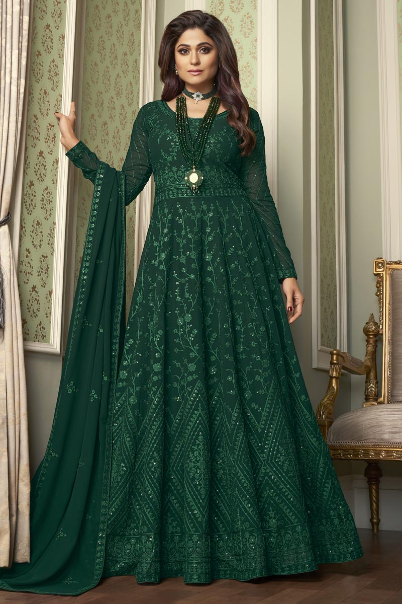 Shamita Shetty Georgette Dark Green Color Party Style Embroidered Long Anarkali Suit