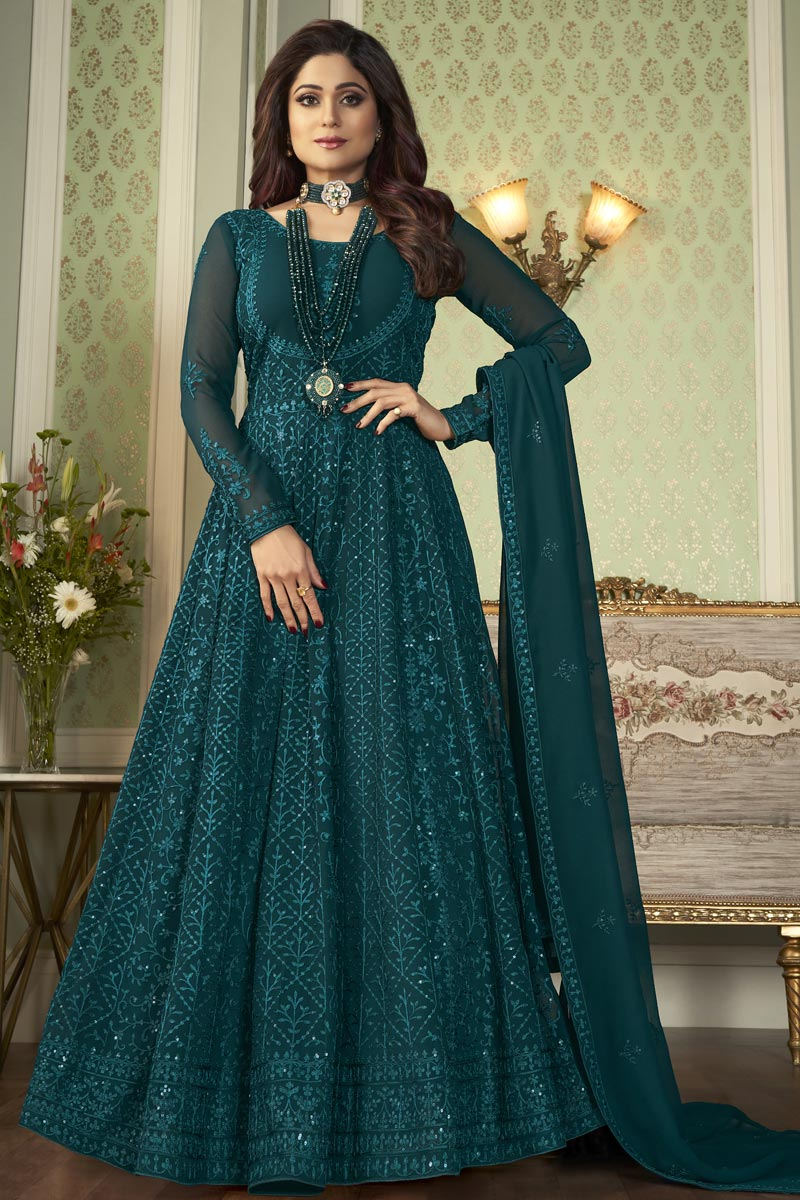 Shamita Shetty Teal Color Party Style Embroidered Anarkali Dress In Georgette