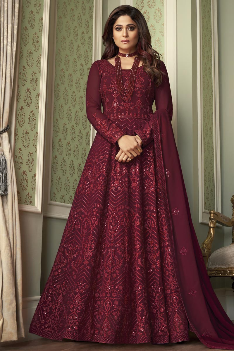 Shamita Shetty Party Style Maroon Color Georgette Embroidered Long Anarkali Suit