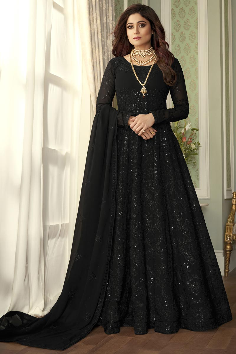 Shamita Shetty Party Style Embroidered Black Color Anarkali Dress In Georgette