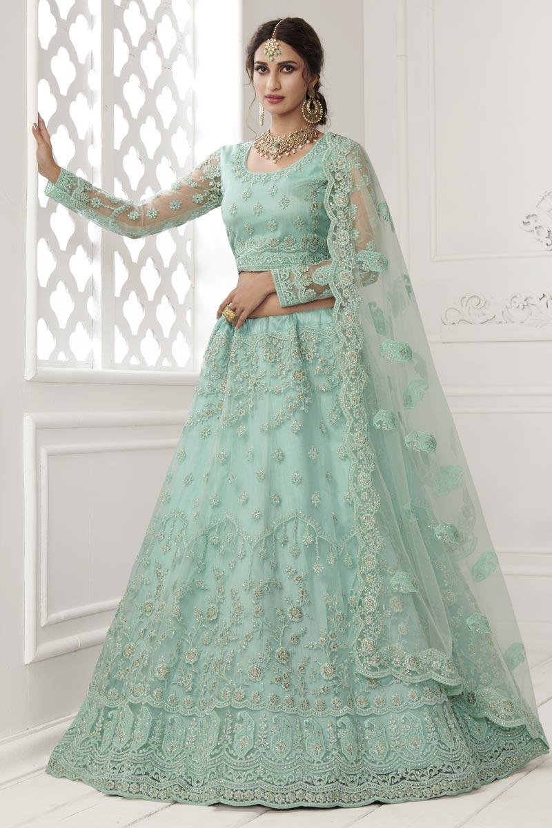 Net Fabric Sea Green Color Stylish Wedding Wear Lehenga Choli