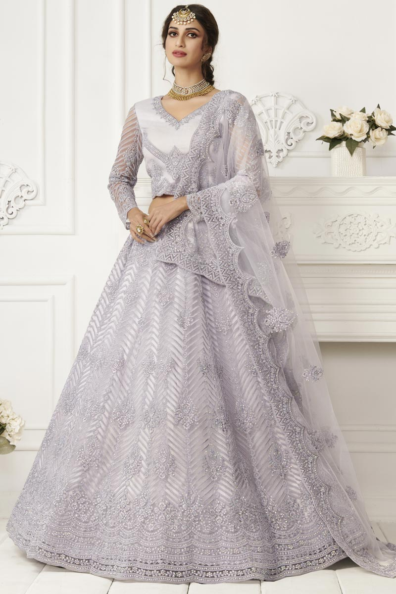 Lavender Color Stylish Reception Wear Lehenga Choli In Net Fabric