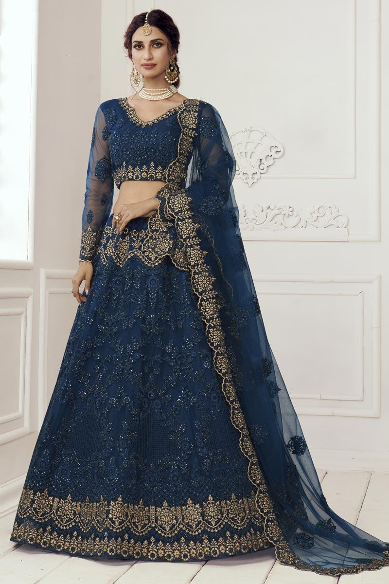 Navy Blue Net Fabric Designer Wedding Wear Lehenga Choli