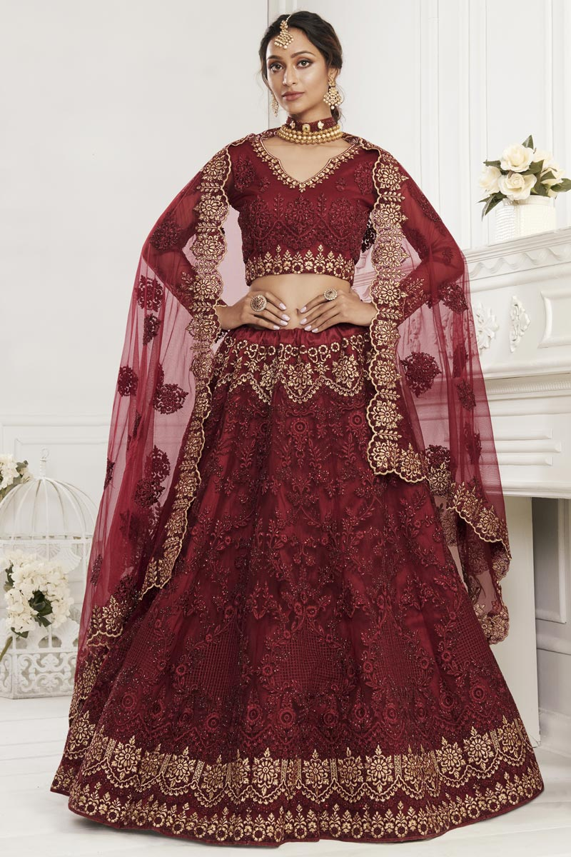 Maroon Color Net Fancy Reception Wear Lehenga Choli