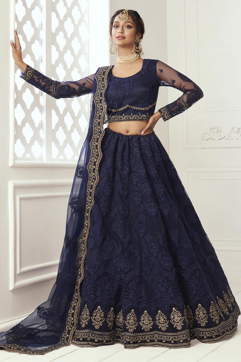 Navy Blue Net Stylish Sangeet Wear Lehenga Choli