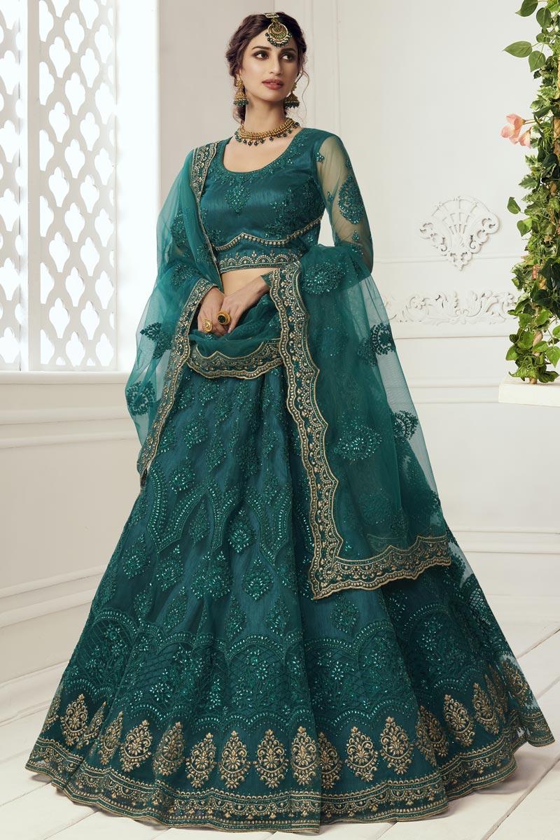 Designer Dark Green Color Net Fabric Reception Wear Lehenga Choli