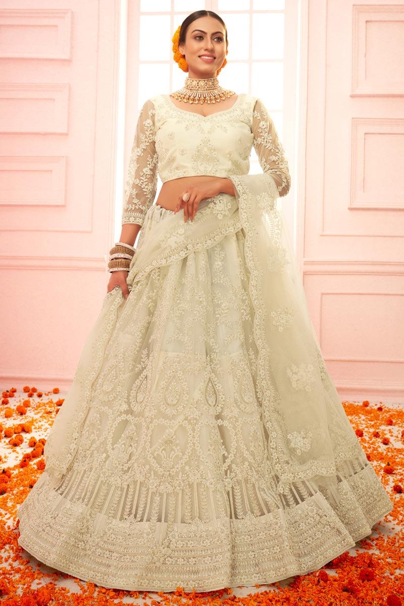 Wedding Wear Beige Color Embroidered Lehenga Choli In Net Fabric