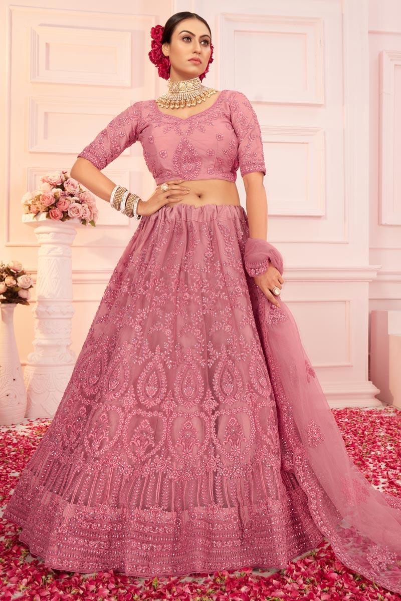 Net Fabric Wedding Wear Pink Color Embroidered Lehenga Choli