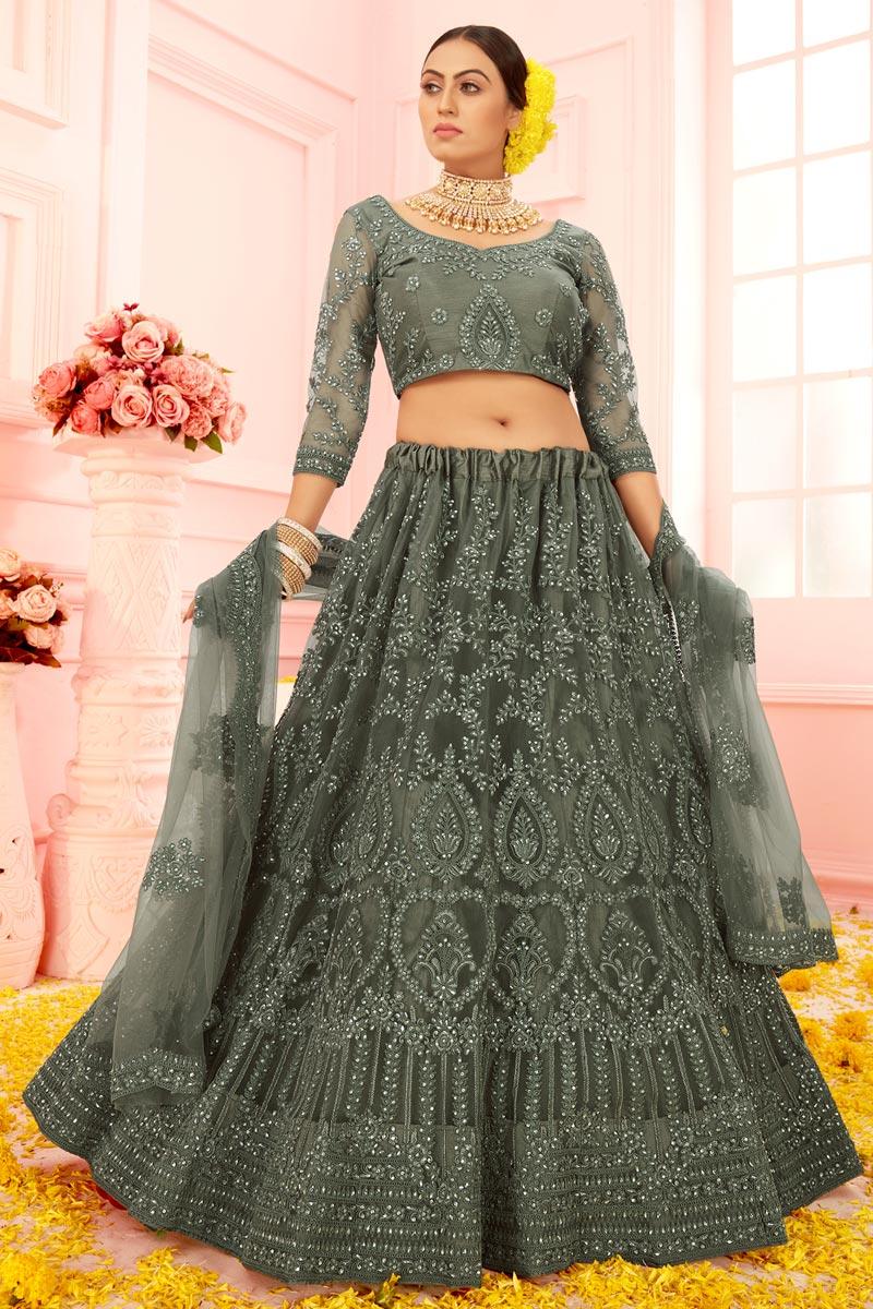 Mehendi Green Color Embroidered Wedding Wear Lehenga Choli In Net Fabric