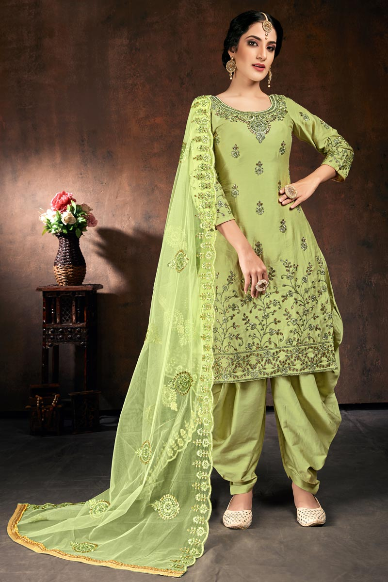 Cotton Fabric Party Wear Readymade Patiala Salwar Suit