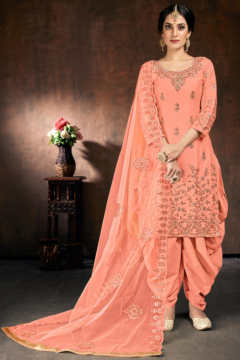 Peach Color Cotton Fabric Function Wear Embroidered Readymade Patiala Suit