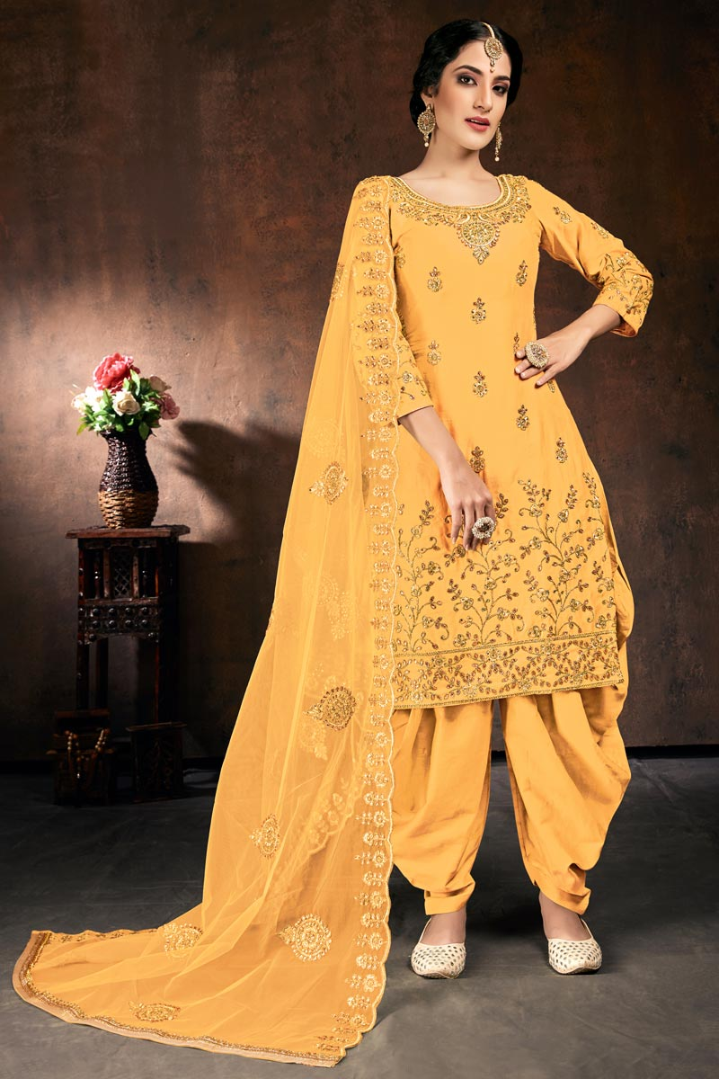Occasion Wear Yellow Color Embroidered Readymade Patiala Salwar Kameez