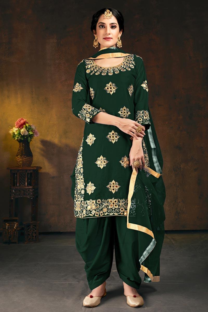 Art Silk Festive Wear Dark Green Color Chic Embroidered Patiala Dress
