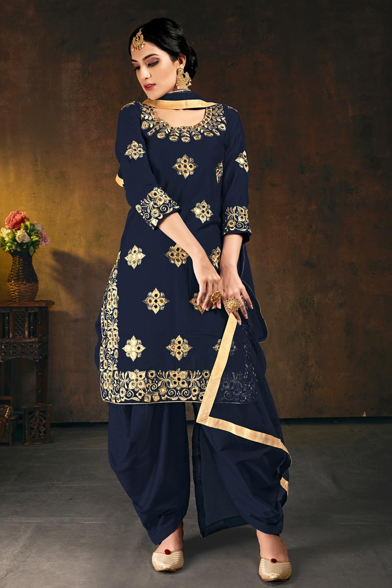 Festive Wear Navy Blue Color Chic Art Silk Embroidered Patiala Suit