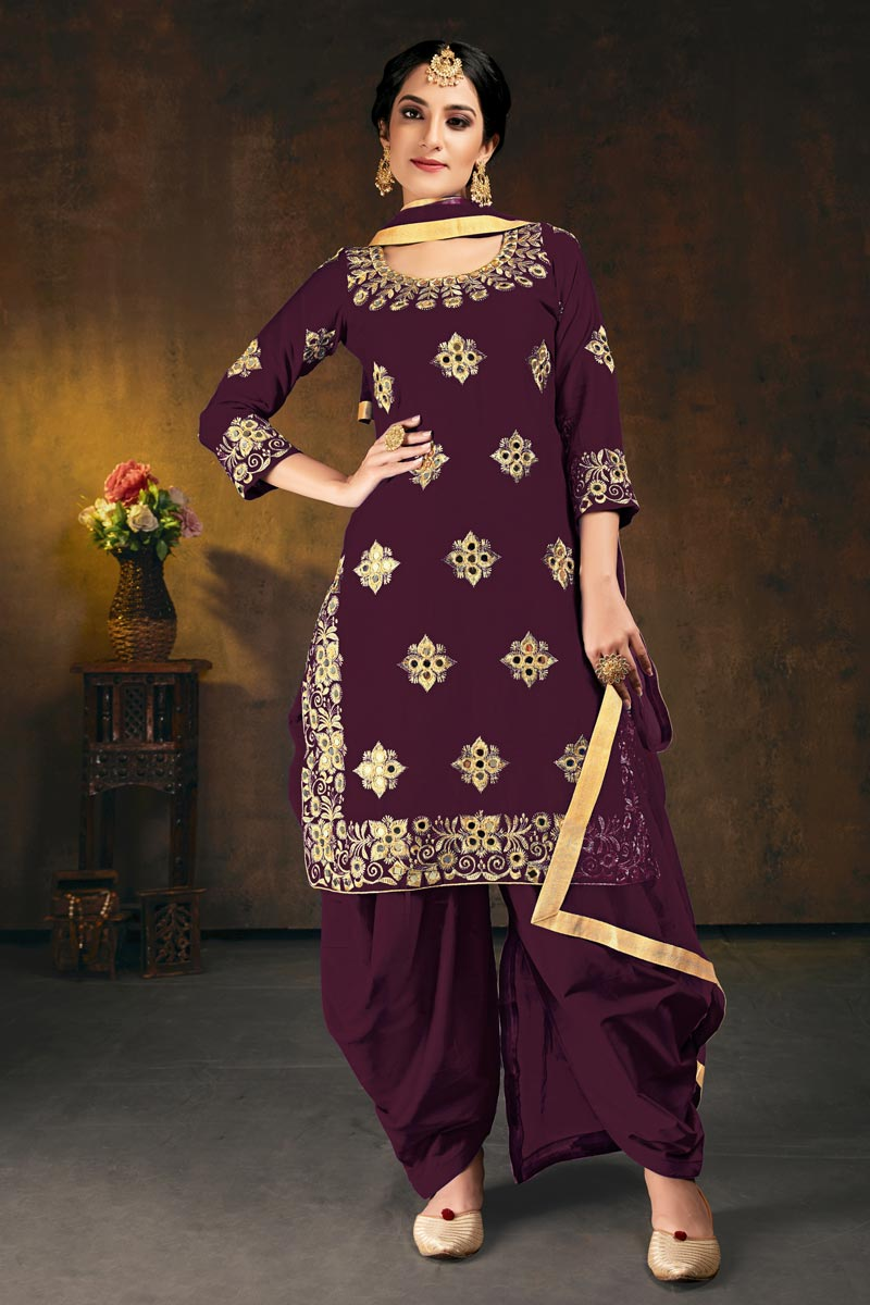 Art Silk Festive Wear Chic Embroidered Patiala Dress In Wine Color