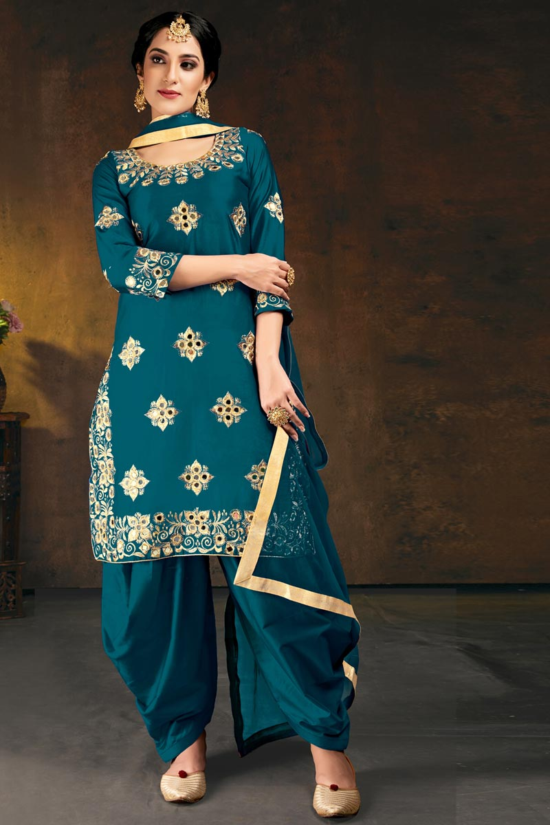 Chic Festive Wear Cyan Color Embroidered Patiala Suit In Art Silk
