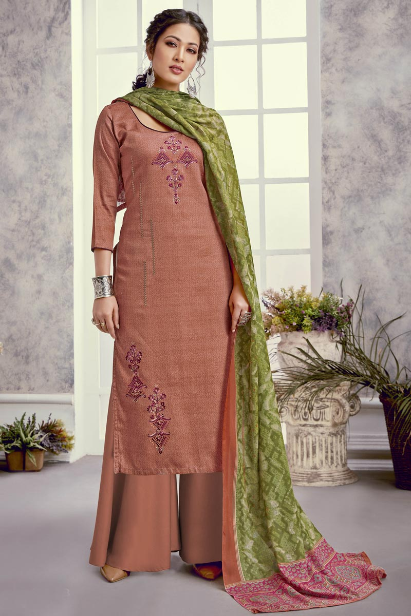 Peach Color Trendy Festive Wear Embroidered Art Silk Fabric Palazzo Dress