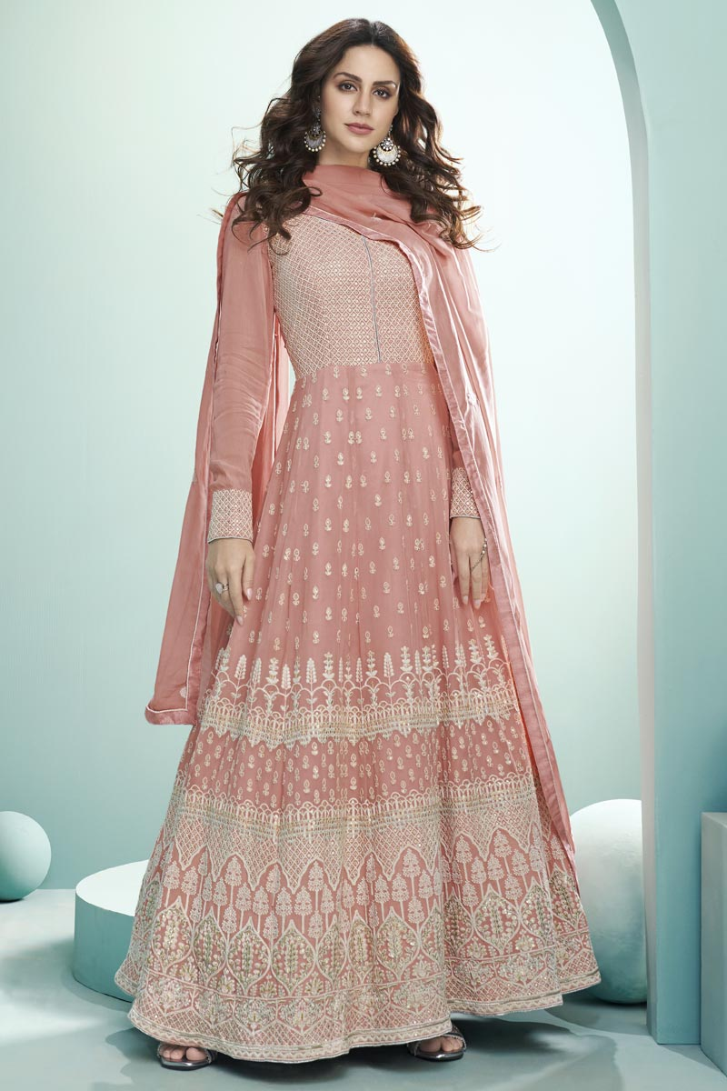 Peach Color Party Wear Embroidered Georgette Fabric Anarkali Dress