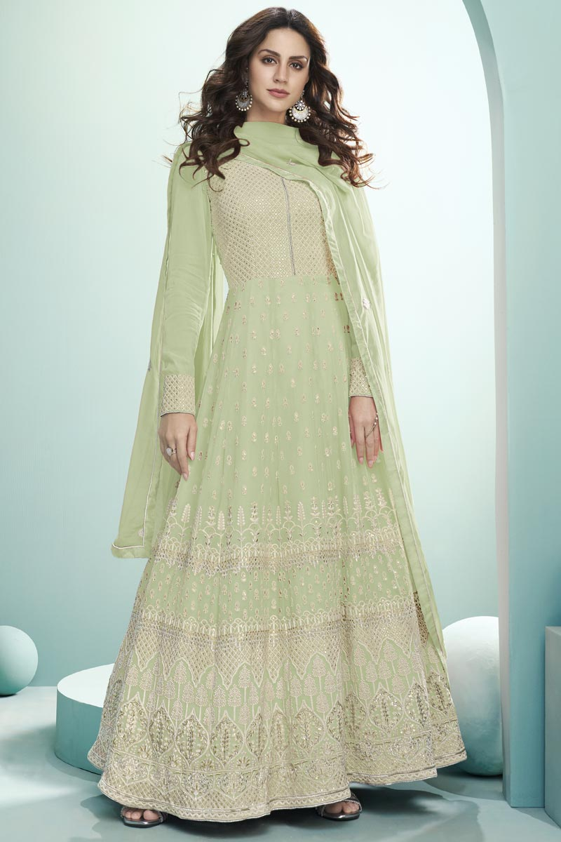 Georgette Fabric Party Wear Sea Green Color Embroidered Anarkali Suit
