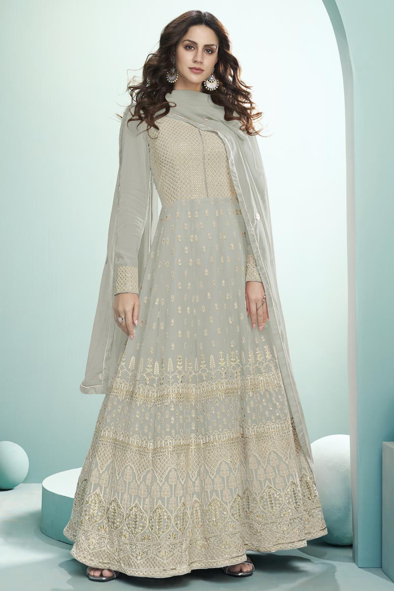 Georgette Fabric Party Wear Embroidered Anarkali Dress In Grey Color