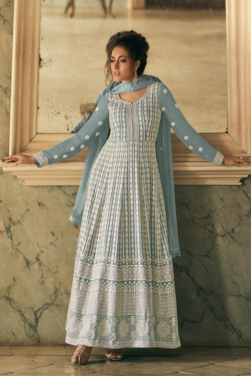 Embroidered Georgette Fabric Light Cyan Color Function Wear Anarkali Suit