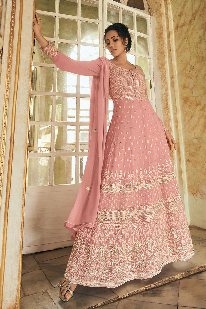 Georgette Fabric Pink Color Function Wear Anarkali Salwar Kameez With Embroidery Designs