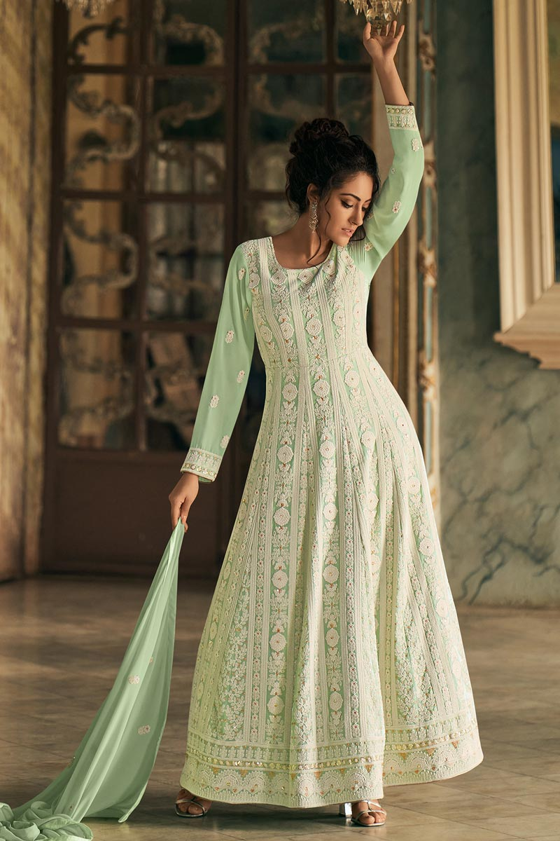 Sea Green Color Georgette Fabric Occasion Wear Anarkali Suit With Embroidery Work
