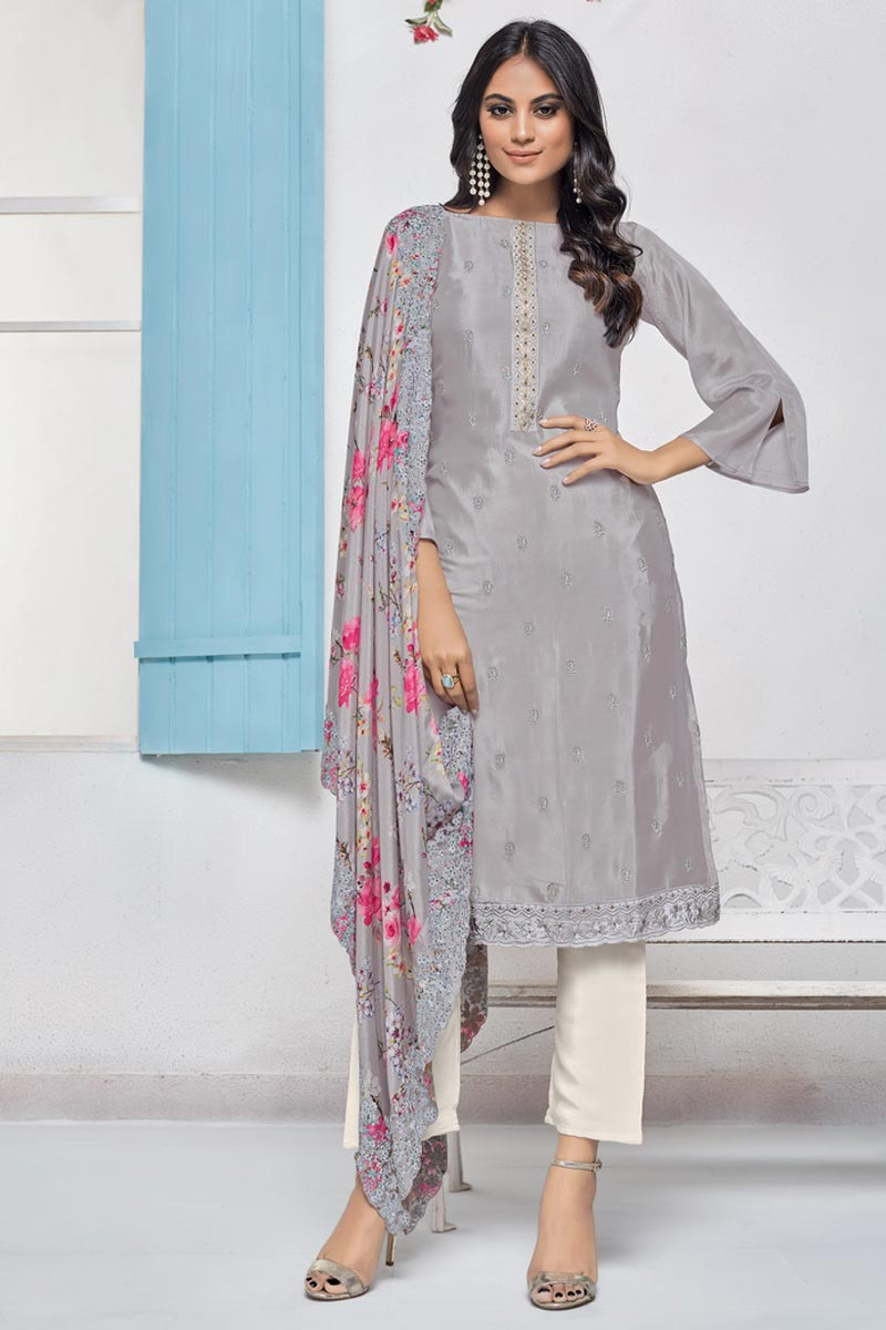 Elegant Grey Color Sangeet Wear Embroidered Chinon Fabric Straight Cut Dress