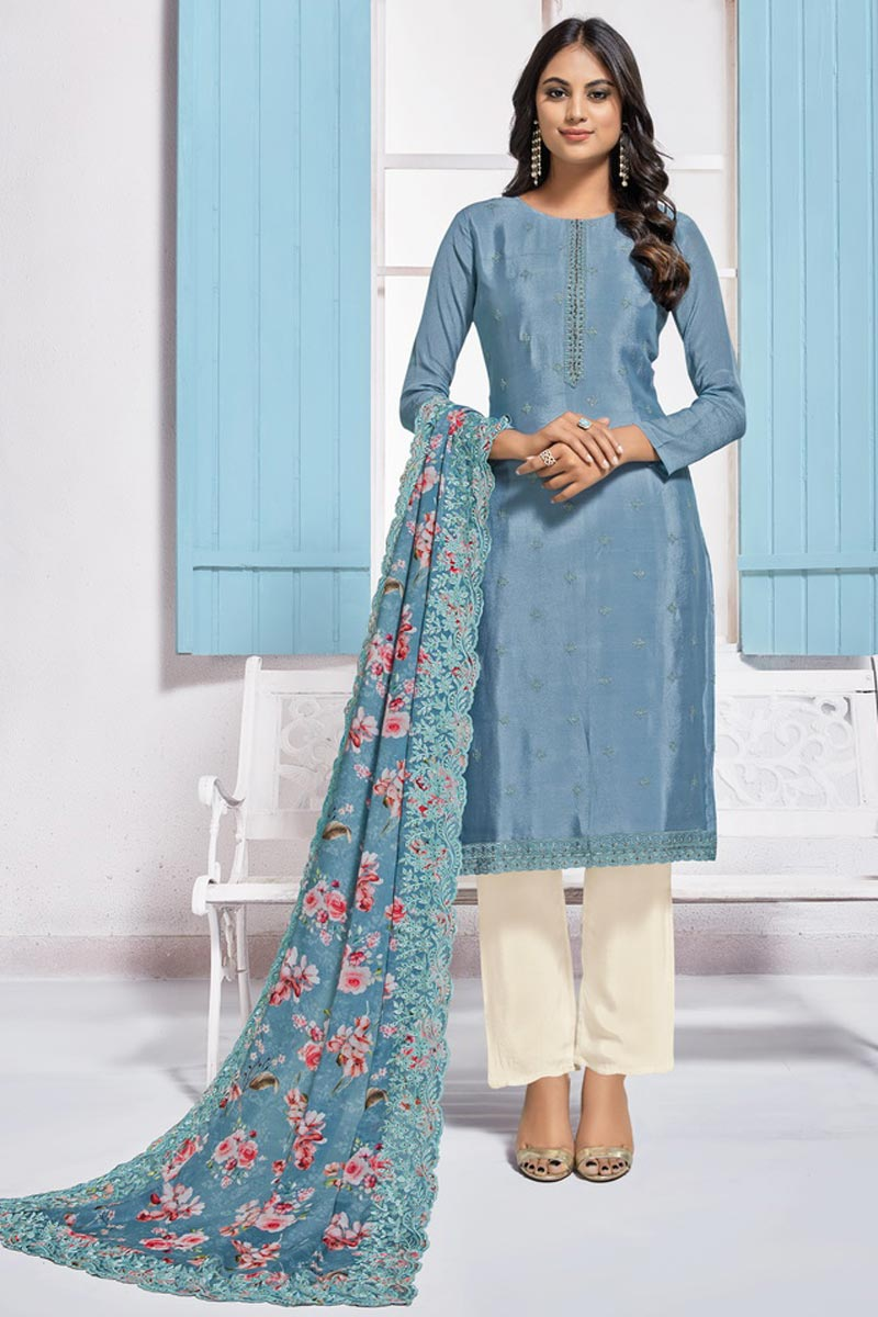 Sangeet Wear Blue Color Elegant Chinon Fabric Embroidered Straight Cut Dress
