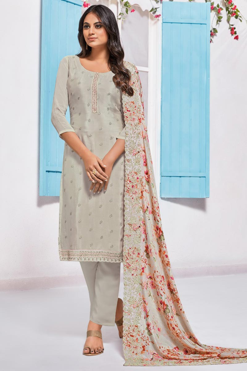 Elegant Chinon Fabric Sangeet Wear Embroidered Straight Cut Suit In Cream Color