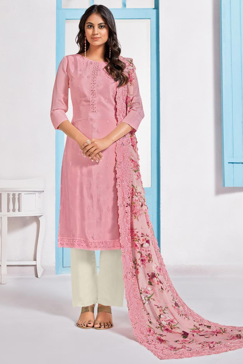 Sangeet Wear Elegant Pink Color Embroidered Straight Cut Chinon Fabric Dress