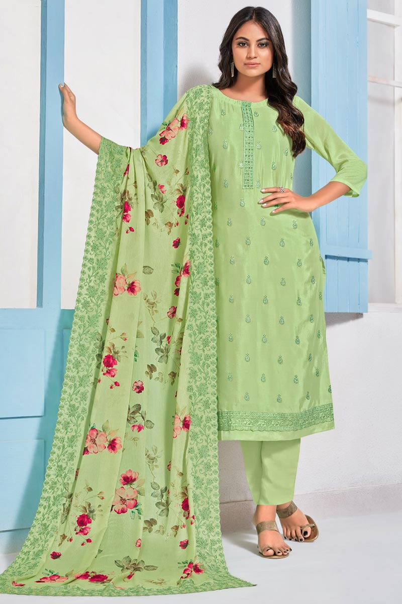 Sangeet Wear Elegant Sea Green Color Embroidered Straight Cut Suit In Chinon Fabric