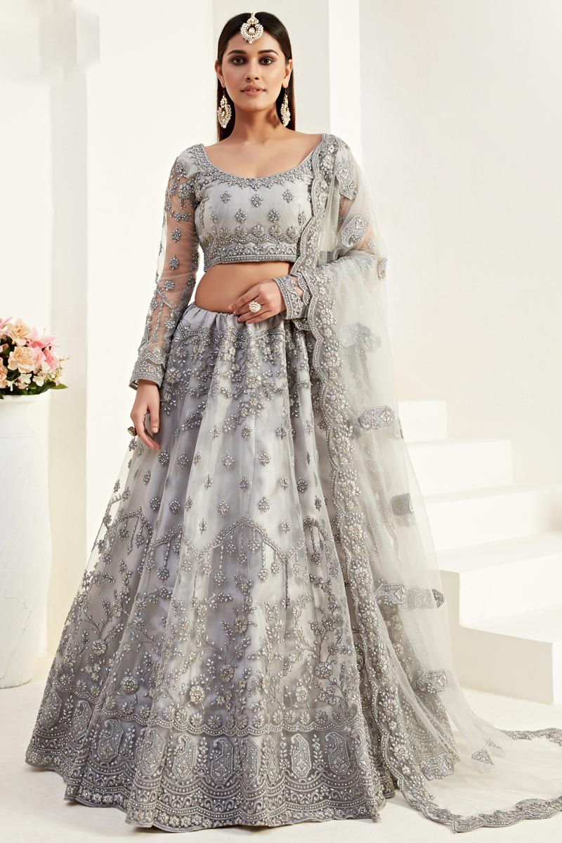 Thread Embroidered Grey Color Function Wear Net Fabric Lehenga