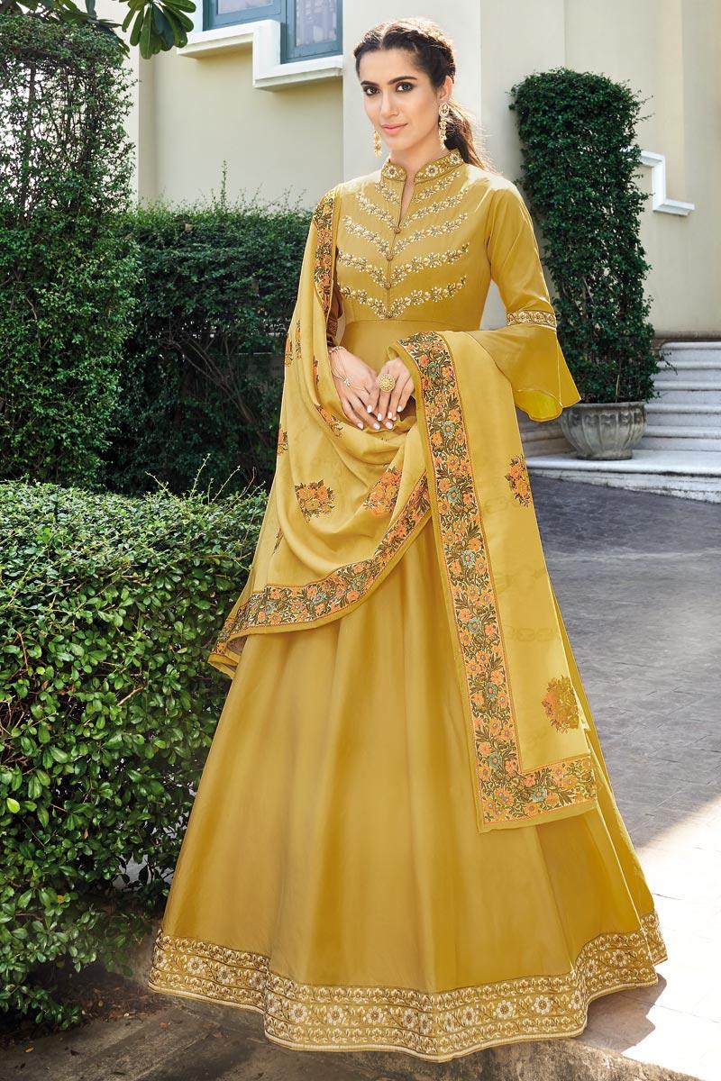 Fancy Festive Wear Yellow Art Silk Embroidered Readymade Anarkali Dress