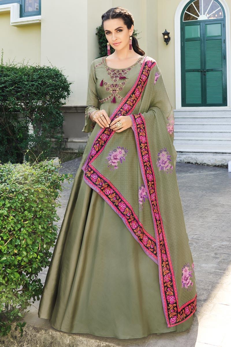 Festive Wear Art Silk Fancy Embroidered Readymade Anarkali Suit In Cream
