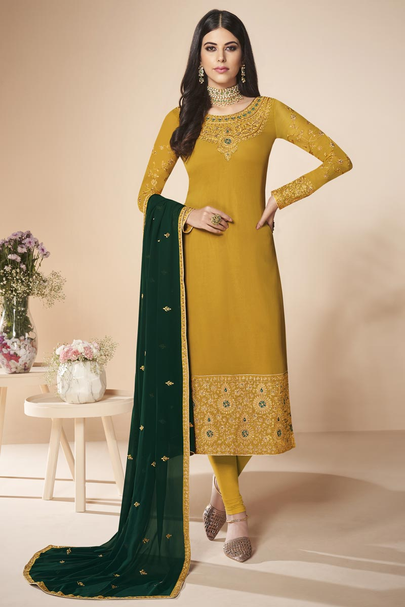 Georgette Designer Embroidered Party Style Straight Cut Dress In Mustard