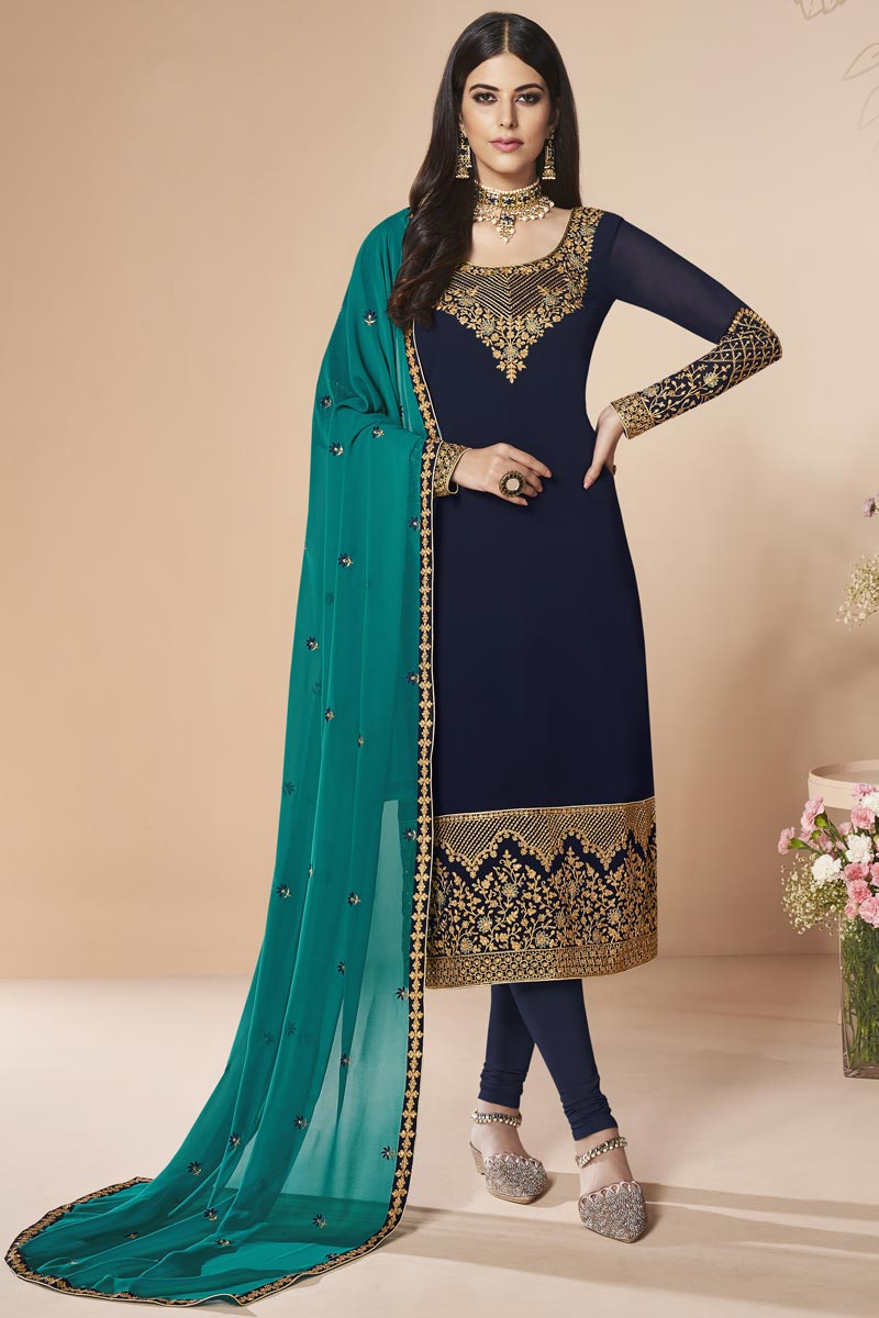 Designer Georgette Party Style Embroidered Navy Blue Straight Cut Suit