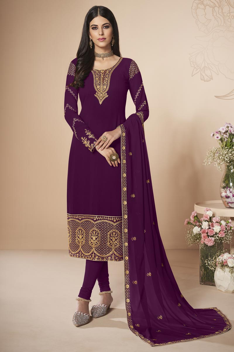Purple Designer Embroidered Party Style Straight Cut Dress In Georgette