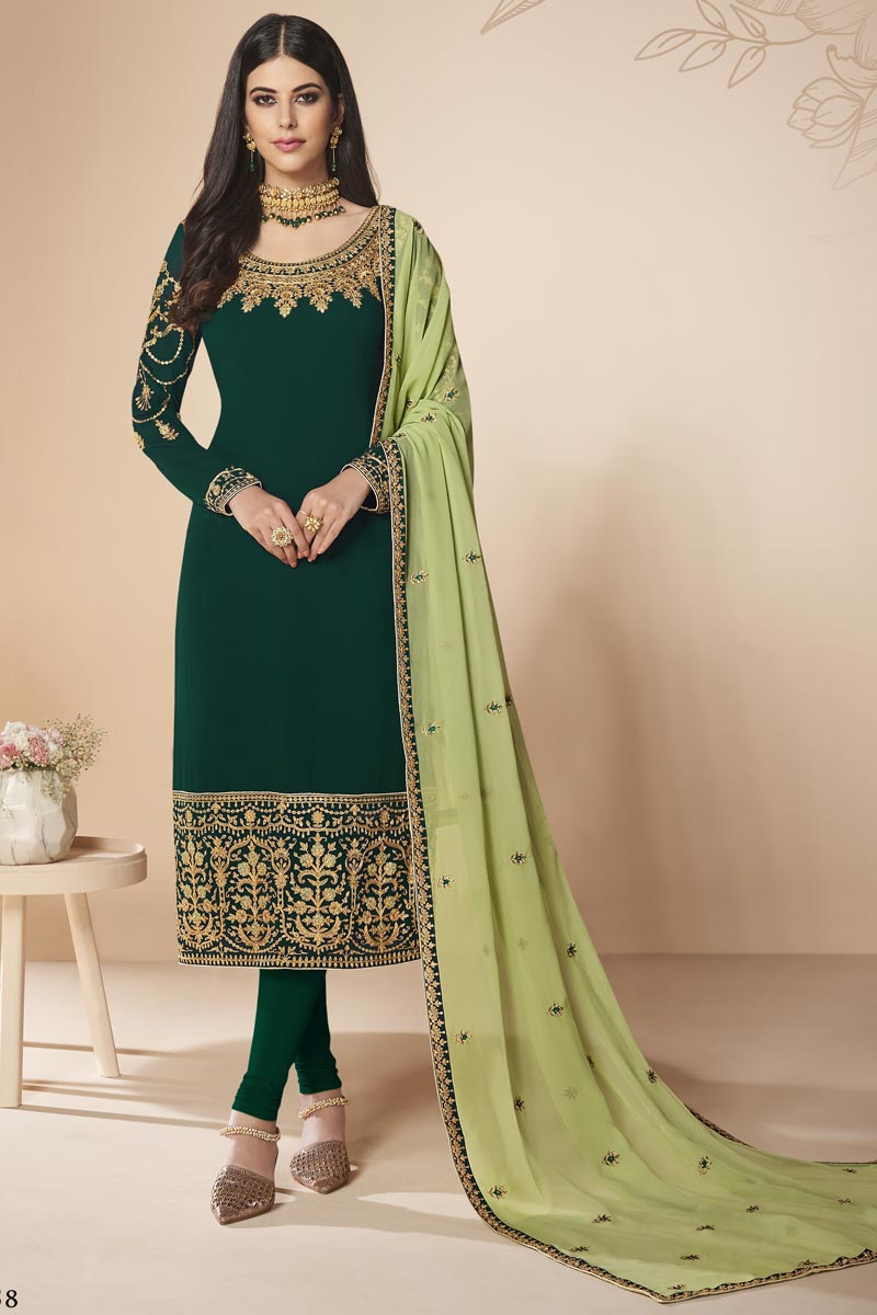 Designer Georgette Party Style Dark Green Embroidered Straight Cut Suit